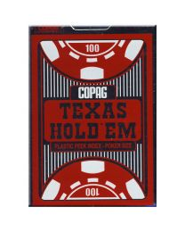 COPAG Playing Cards Texas Hold'em Plastic Peek Index Red